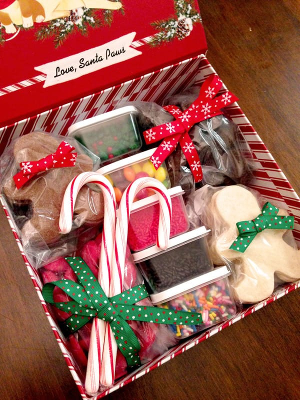 DIY cookie decorating gift basket for holidays and kids