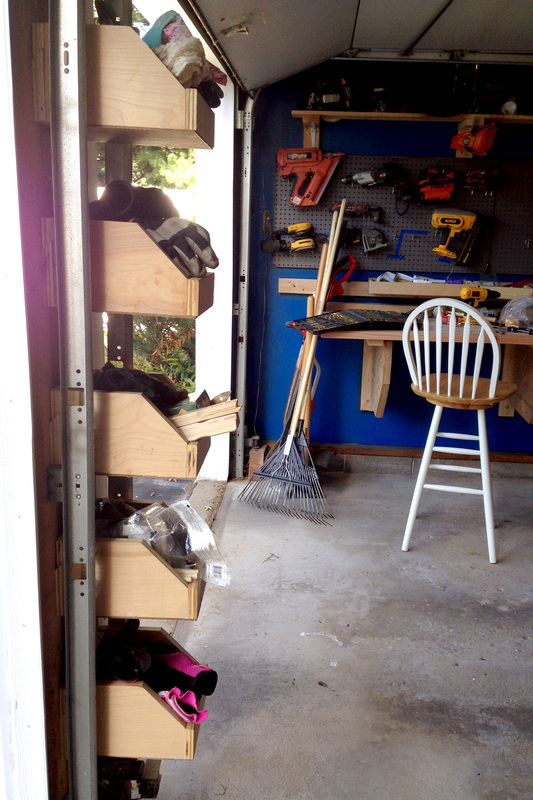 French-cleat shelves in garage for organization