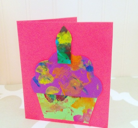 Childrens birthday card ideas - have them paint and then cut it into a card