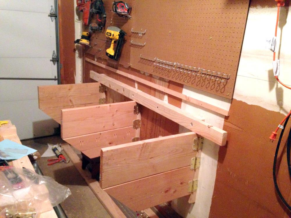 Attaching Hinges to the DIY Folding Workbench that mounts to the wall of the garage