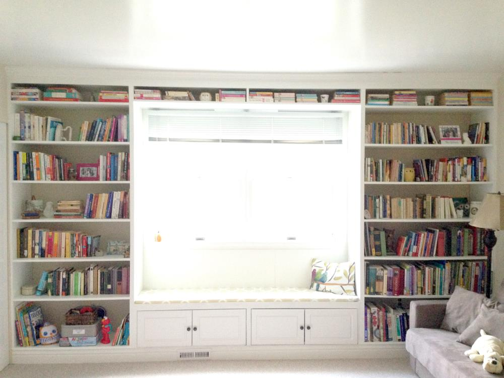 DIY built-in bookshelves with cabinets below and window seat - easy diy tutorial