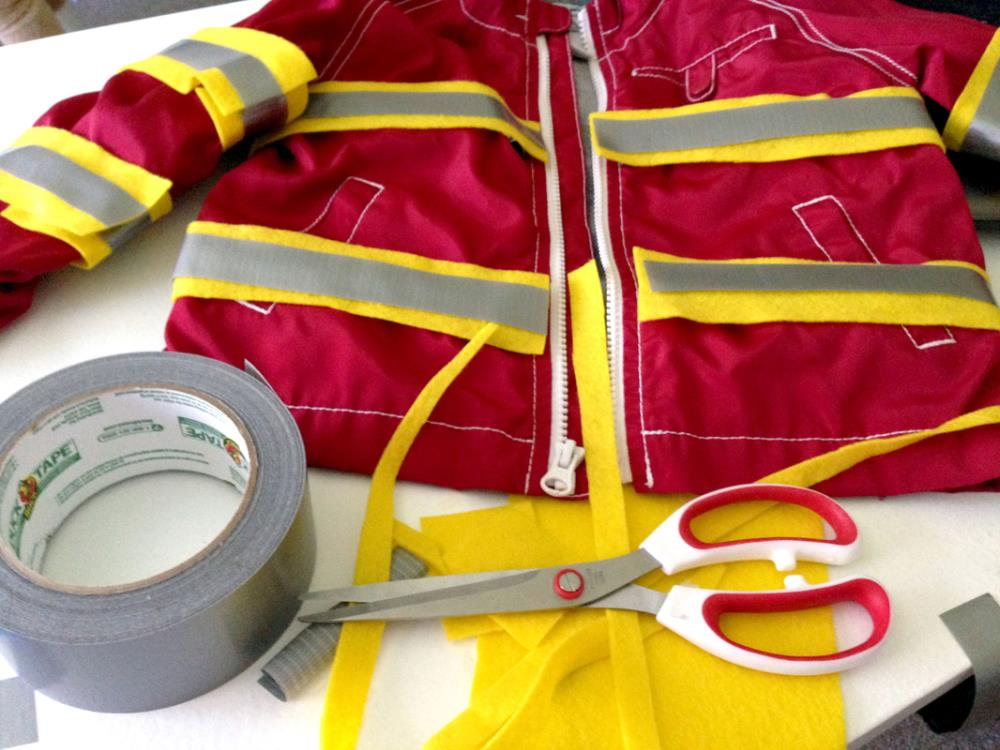 Making a DIY Fireman's Coat to go with the Diaper Box Fire Truck