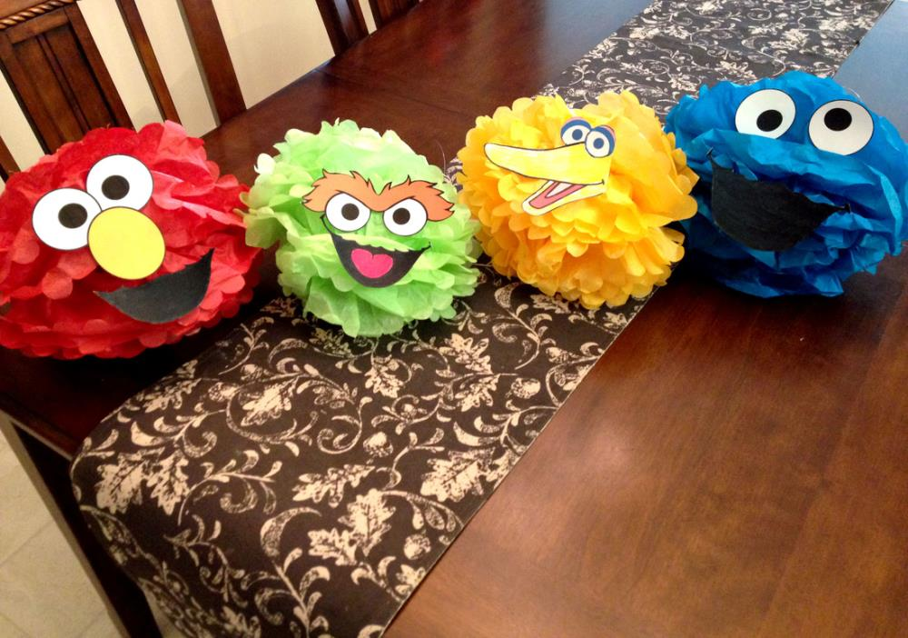 How to throw a diy sesame street party that everyone will remember how to throw an amazing diy sesame party character pom poms solutioingenieria Image collections