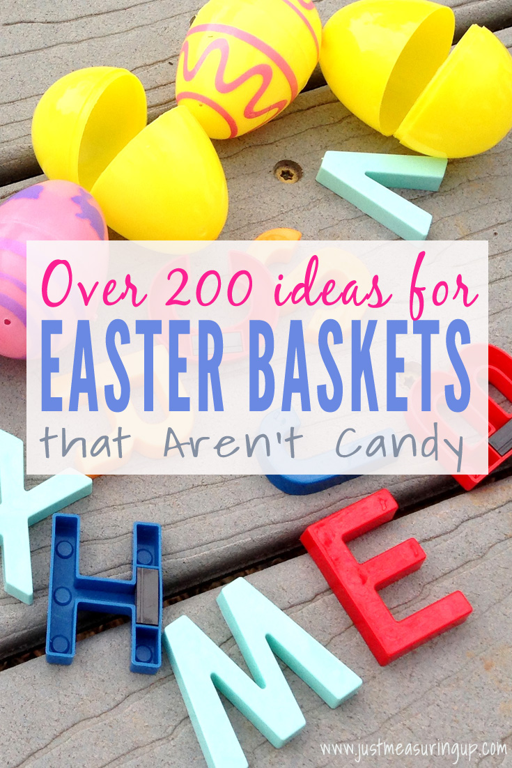 Check out these 200 + Ideas for Candy-Free Easter Basket Ideas