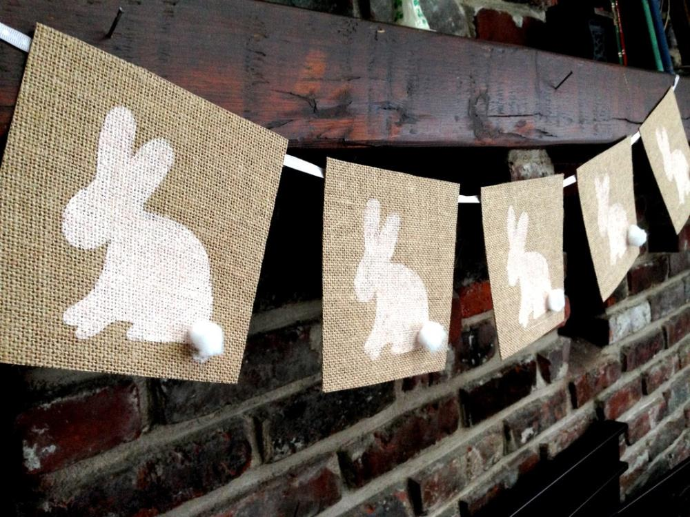 Making a Bunny Burlap Banner - 12 Simple Easter Crafts with Free Printable