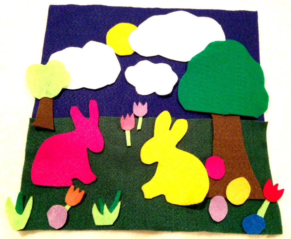 Easter Bunny Felt-scape for kids with free printable
