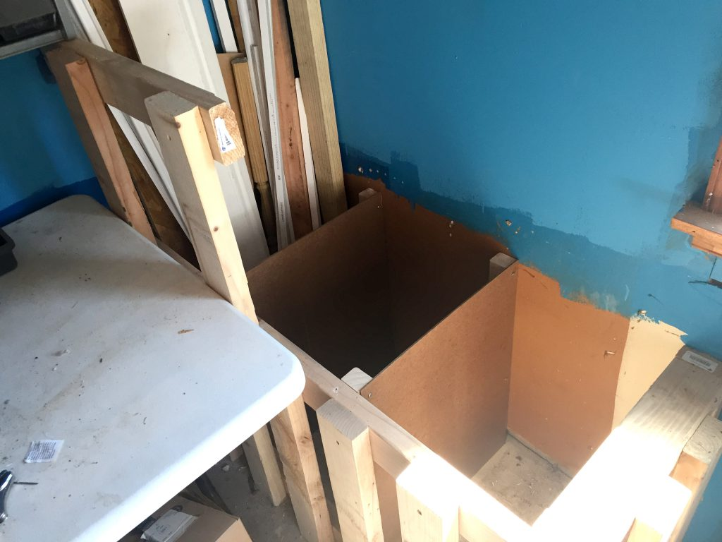 Making Compartments in the Scrap Wood Storage Bin for Garage Organization
