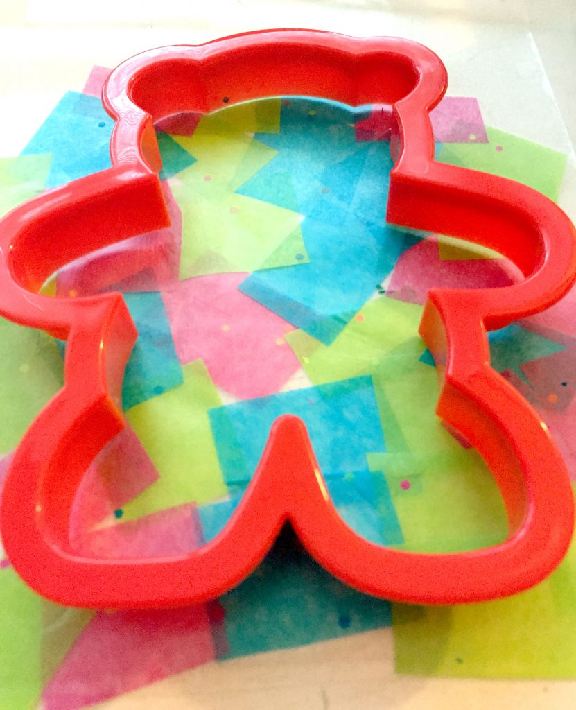 Using Cookie Cutter Shapes to Make Tissue Paper Suncatchers