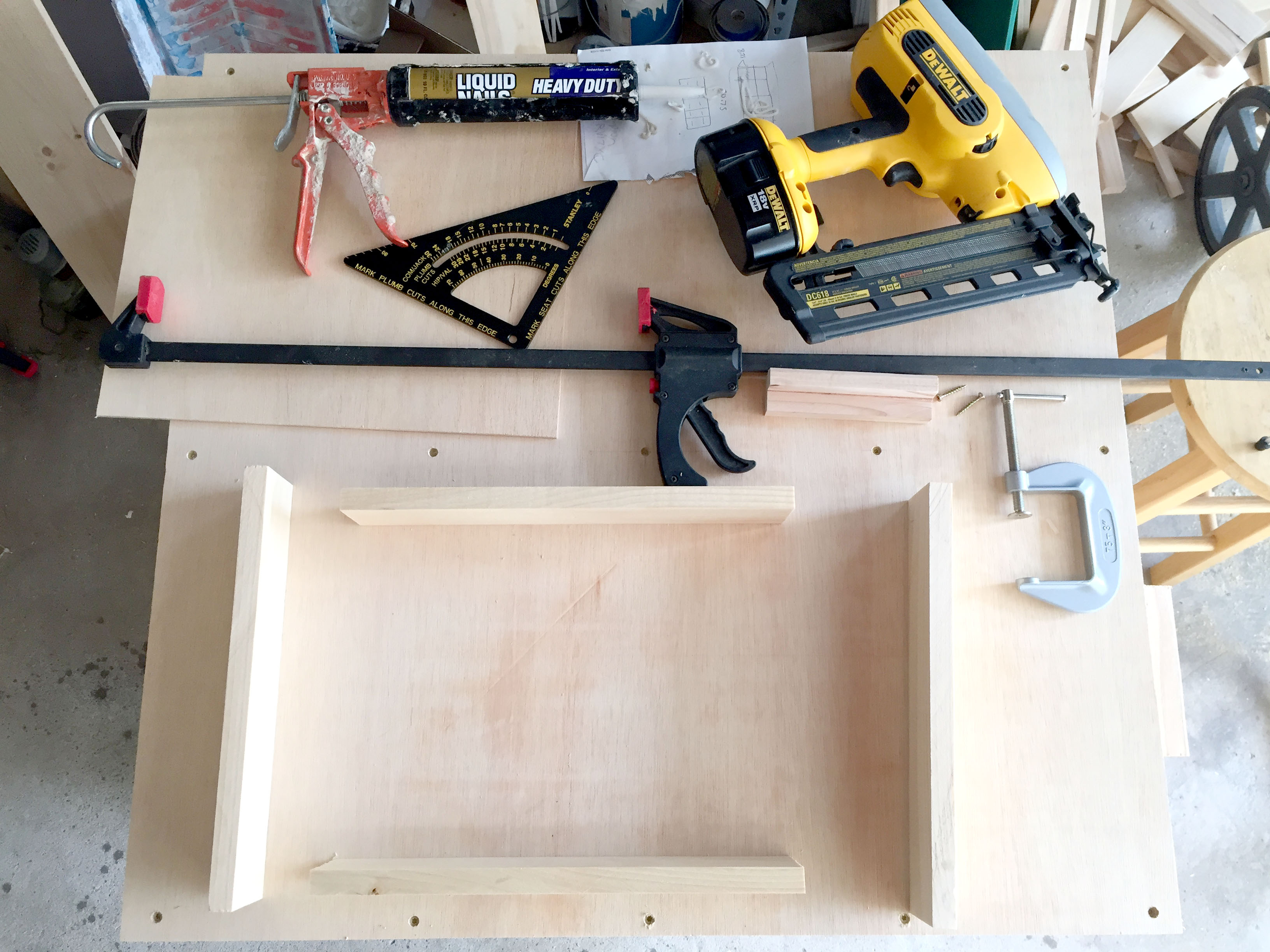 Materials and Workspace for Making DIY Drawers with Custom Handles