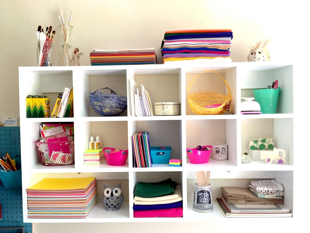 Shelves to stay organized.