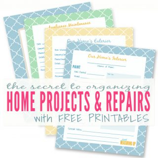 Free Printables to Organize Your Home Improvement