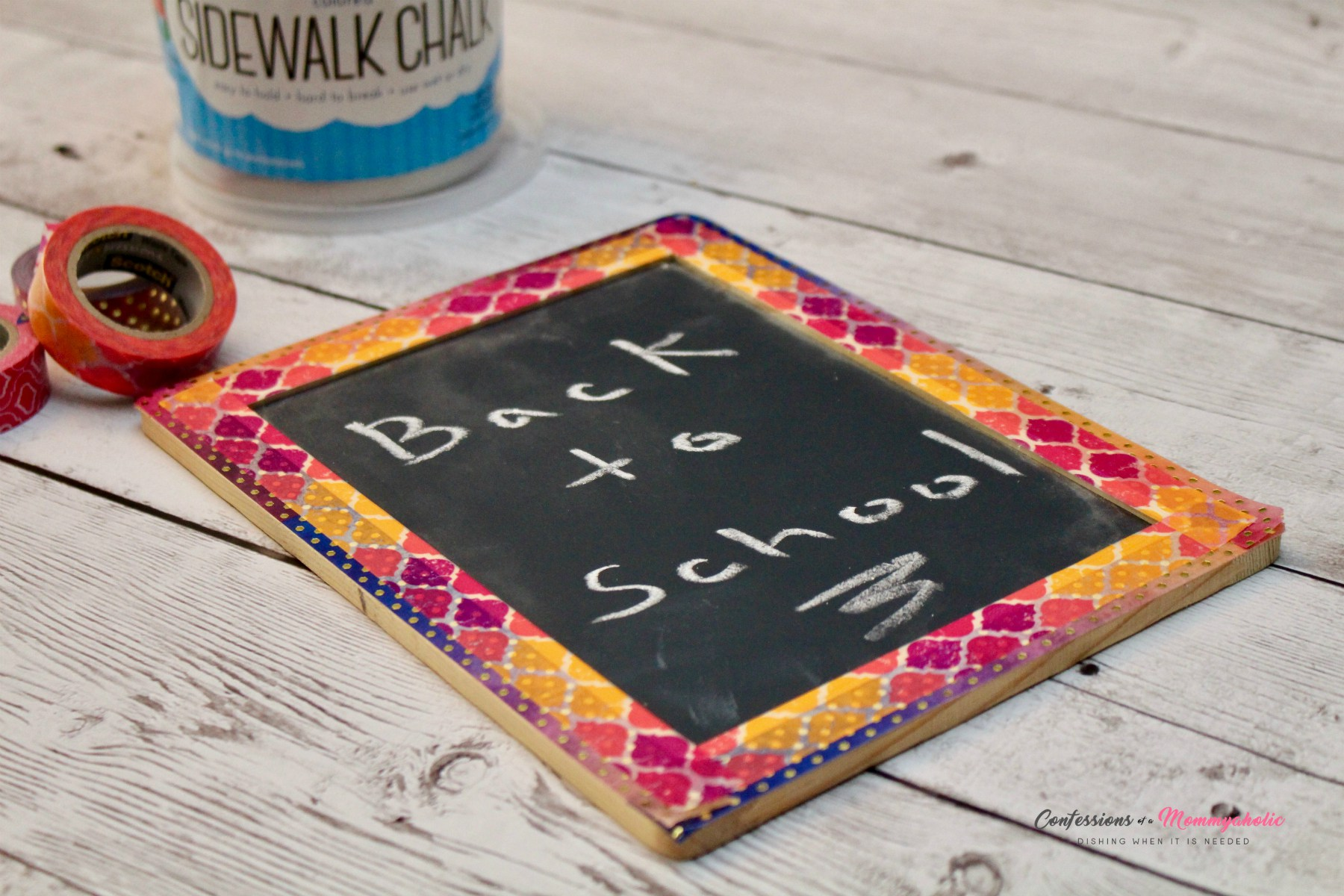 DIY Washi Tape Chalkboard for Back-to-School