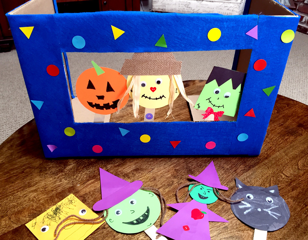 Easy Kids Craft - Making Popsicle Stick Puppets and Puppet Theater from a Diaper Box
