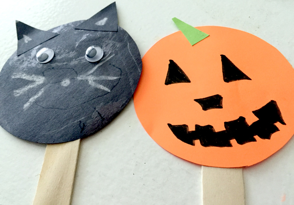 Making Popsicle Stick Puppets - Black Cat and Jack-O-Lantern