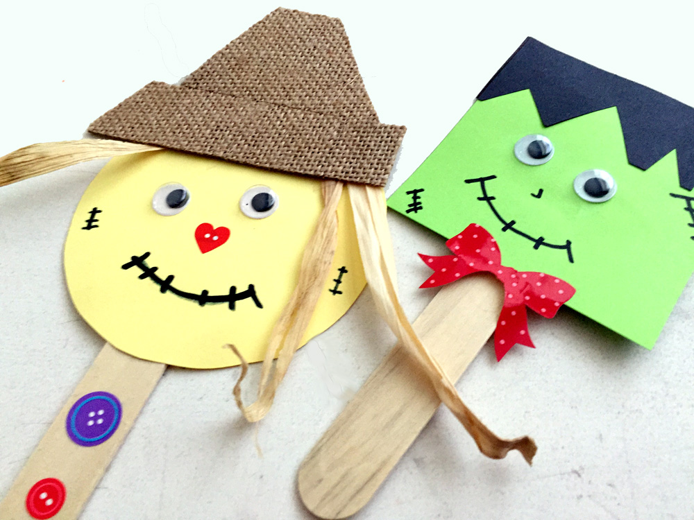 Making Popsicle Stick Scarecrow and Monster Figures - Easy Fall Craft for Kids