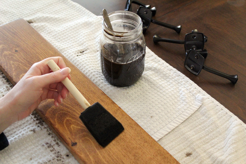 How to Make a DIY Hook Rack with Homemade Wood Stain