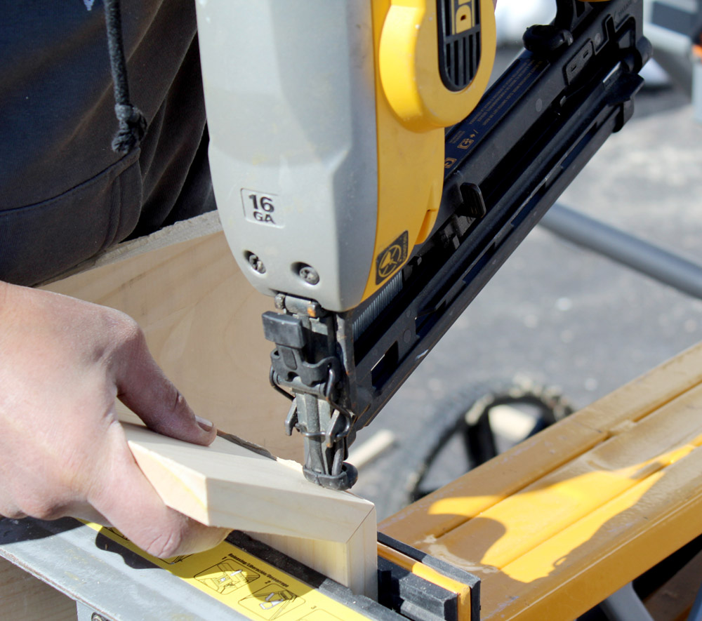 Using a finishing nail gun to make DIY planter boxes