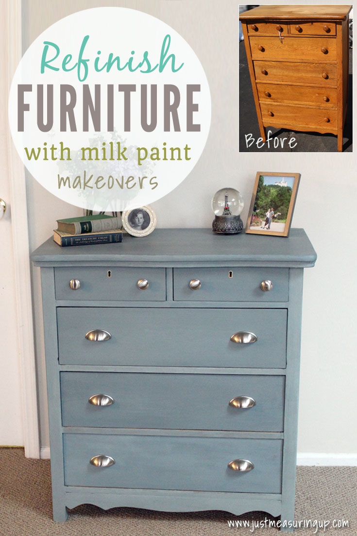 Updating an old 1950s oak dresser with gray blue milk paint