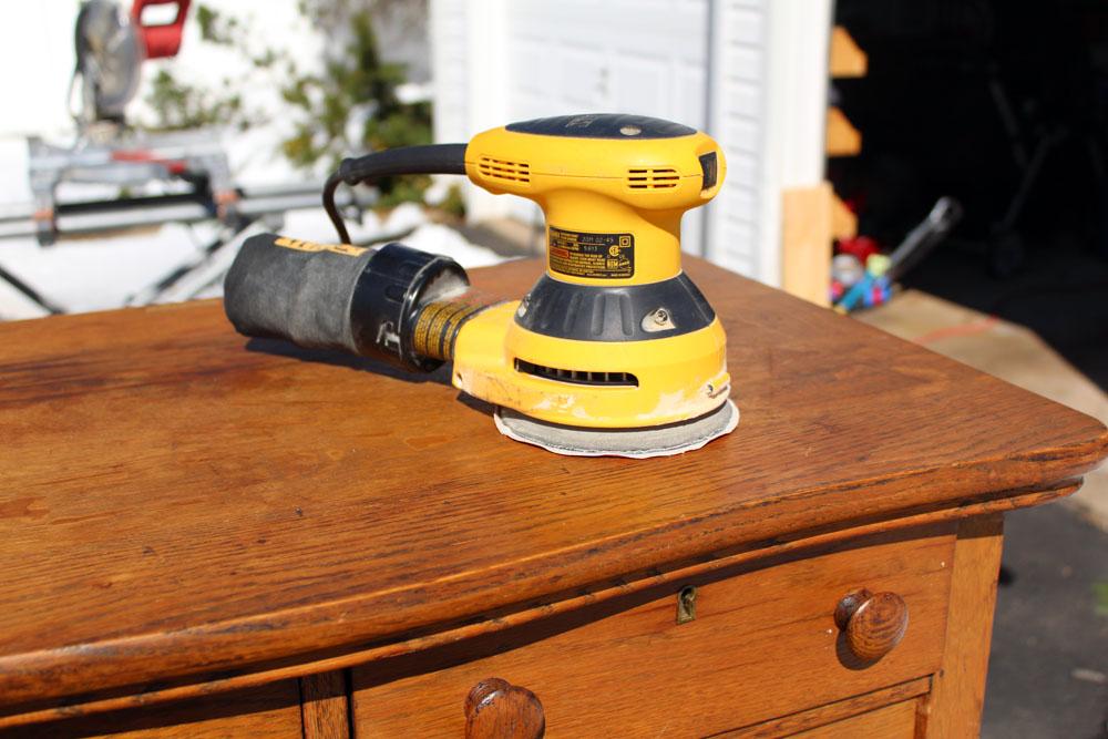 Sanding and refinishing an old oak dresser