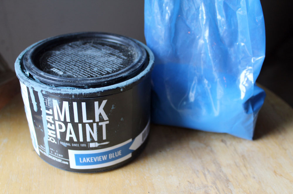 Mixing milk paint from the Real Milk Paint Company in Lakeview Blue