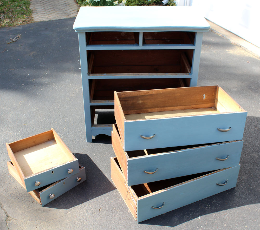 Gray blue dresser after being painted with milk paint - tips and tricks