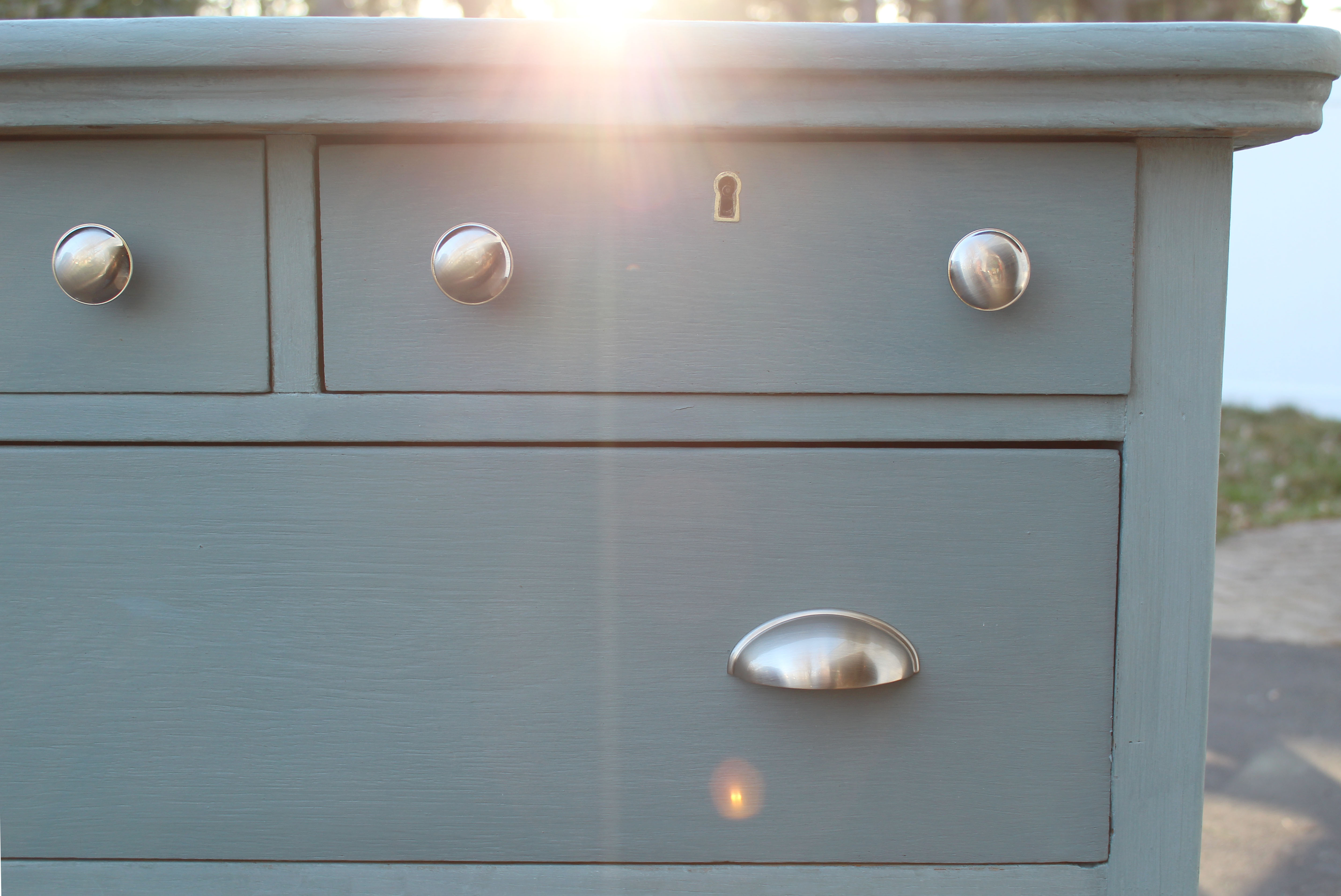 Using Milk Paint In French Gray To Refinish An Old Dresser
