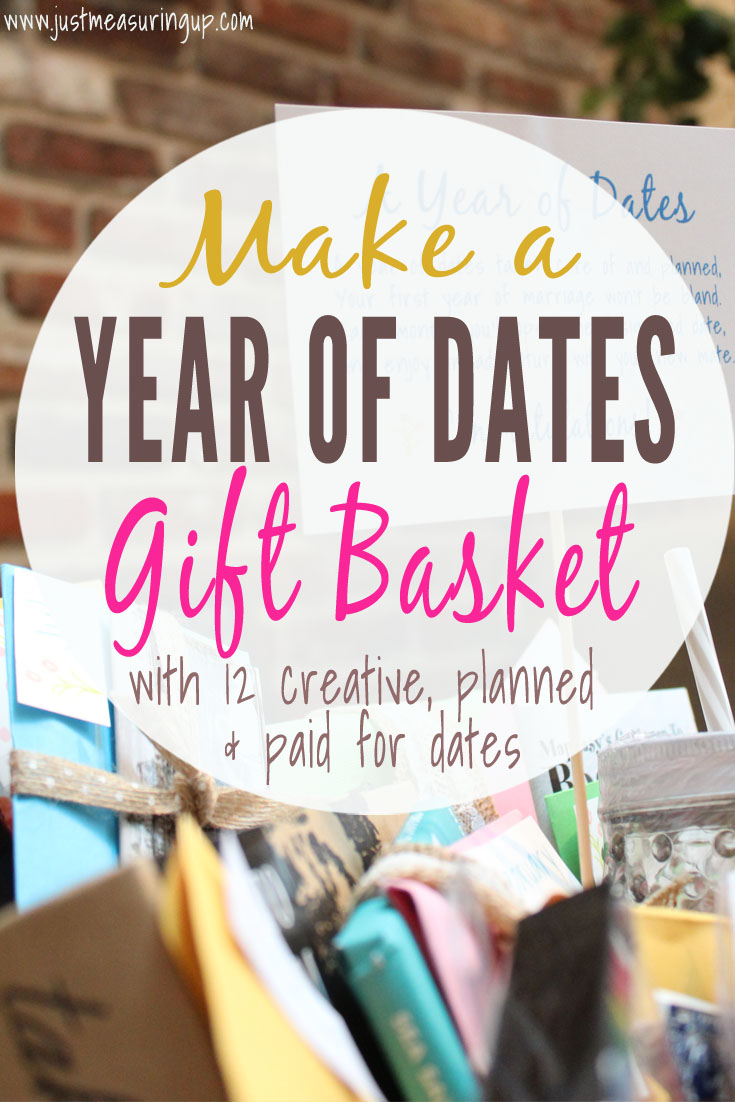 DIY Wedding Gift Idea for Bride and Grooms - Make a Year of Dates wedding gift basket with planned and paid for dates!!