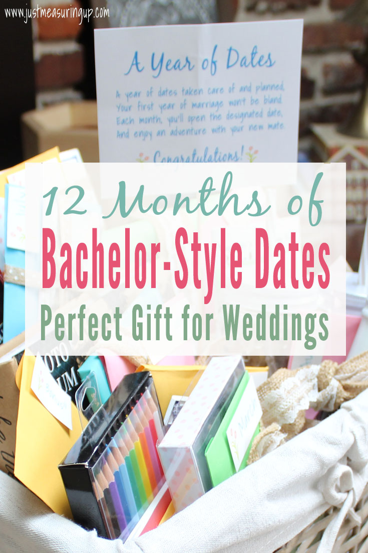 BEST WEDDING GIFT IDEA! Make a Year of Dates Gift Basket - perfect gift for weddings, showers, and couples. Free printables!