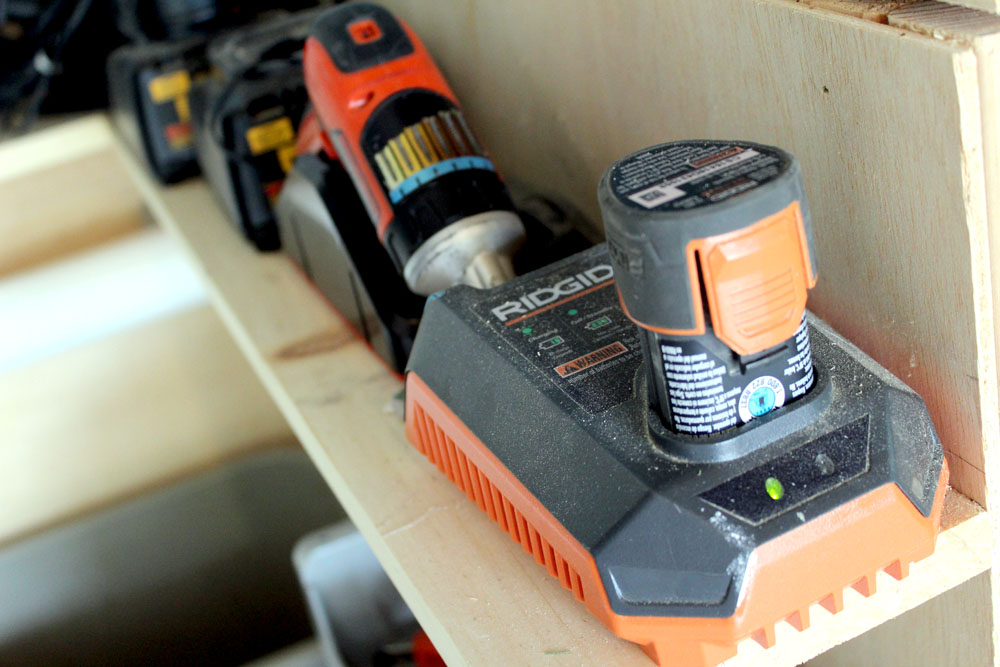DIY Garage Organization Ideas - Battery Charging Station