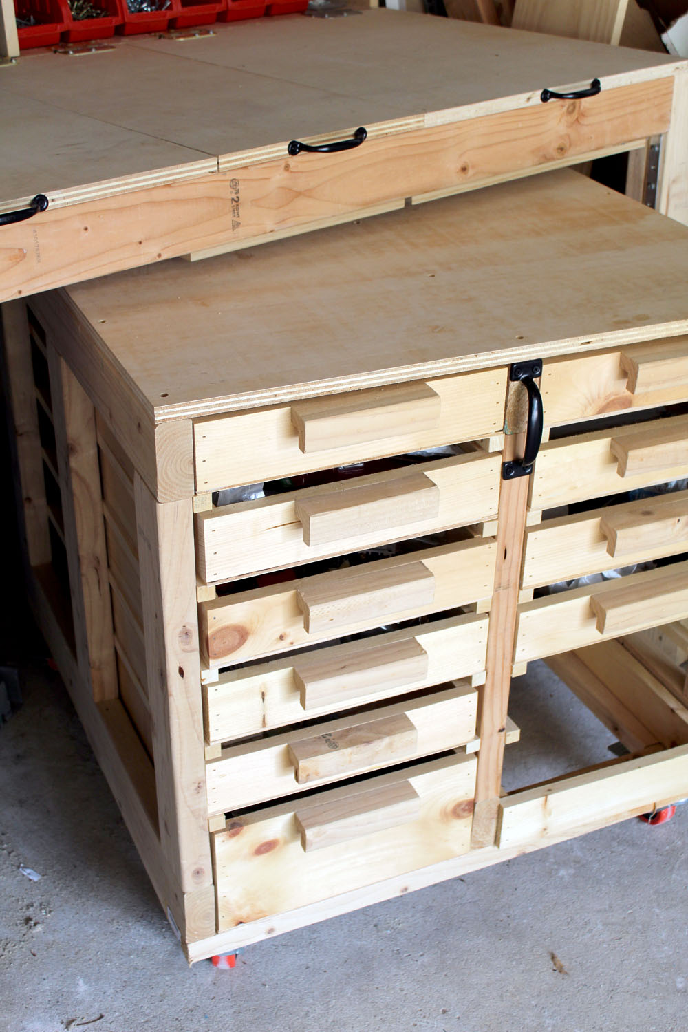Custom-made DIY rolling workbench with tons of storage and organization