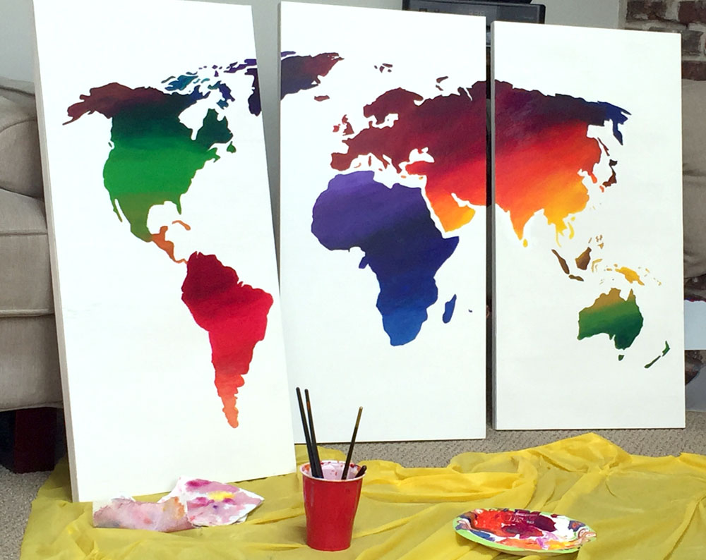Easy DIY wall art of the world map