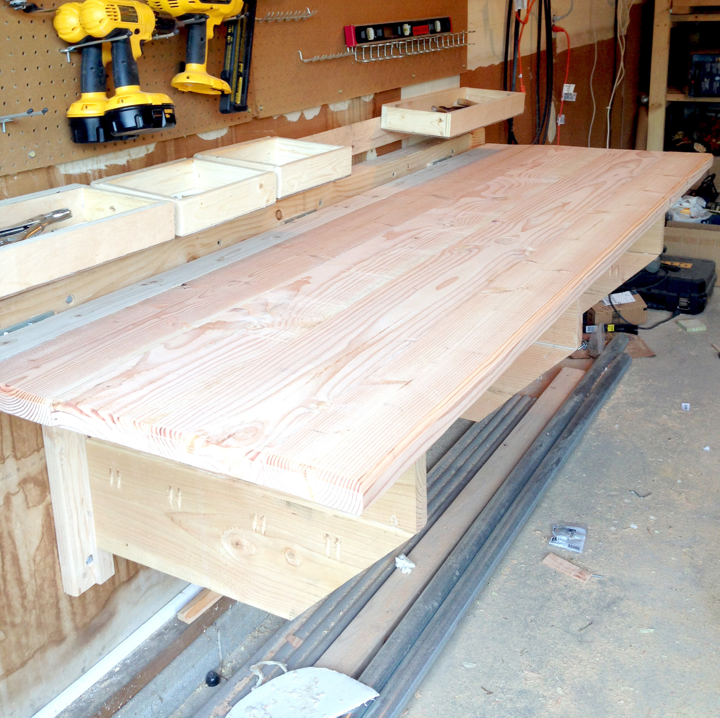 Custom-built folding workbench that's great for small garages