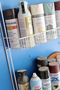 Upcycling a closet wire rack into spray paint organization in the garage
