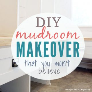 Cubby shelf mudroom makeover