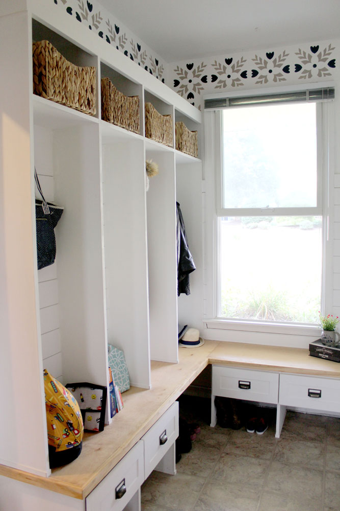 Locker-style cubbies in mudroom painted in Snow White Milk Paint