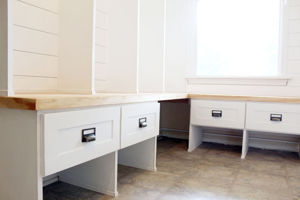 Mudroom cubby drawers painted with milk paint