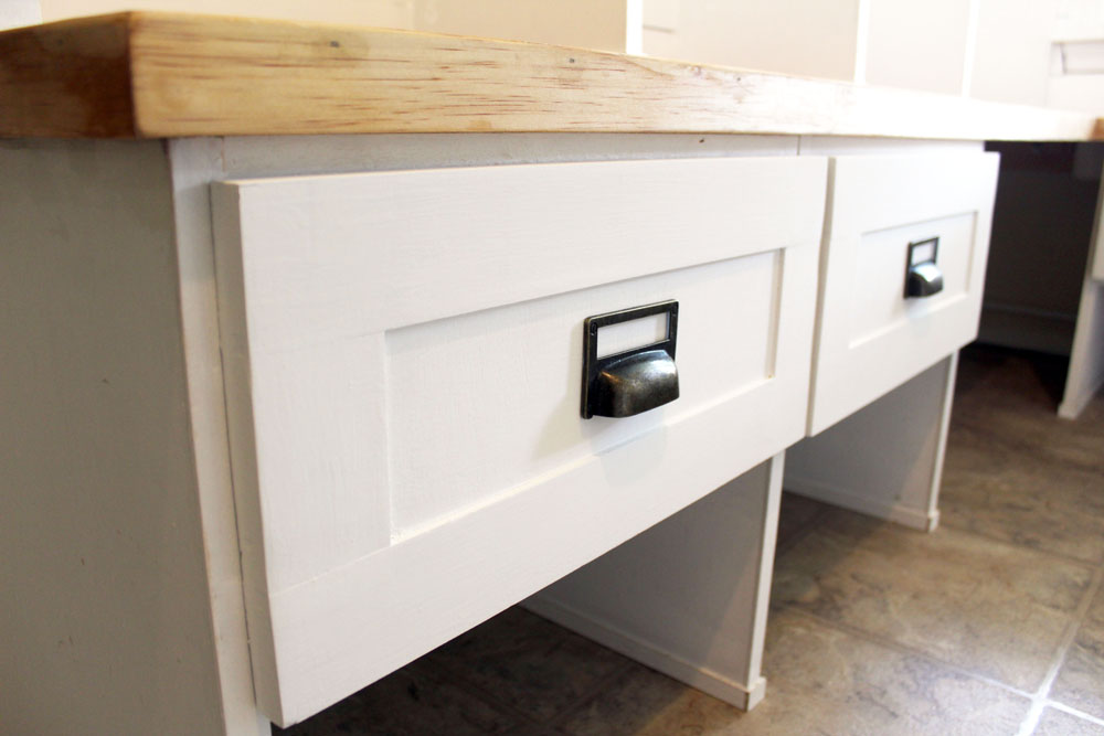 DIY drawers with card catalog style drawer pulls