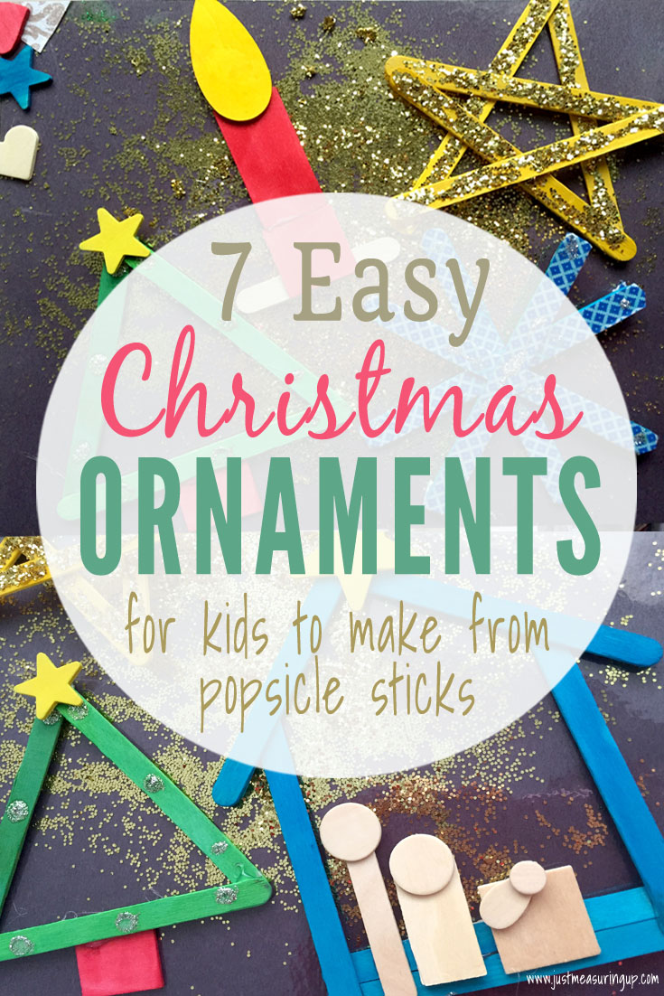 Christmas Ornaments kids made from popsicle sticks and wooden shapes