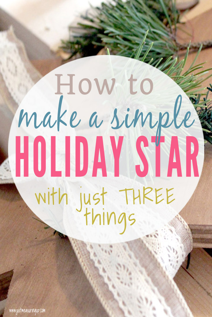 Making a simple holiday star out of wood, ribbon, and greenery