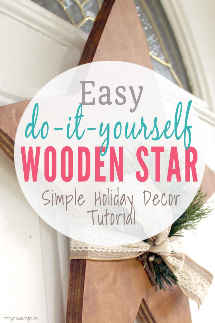 Simply DIY Christmas star hanging on the door