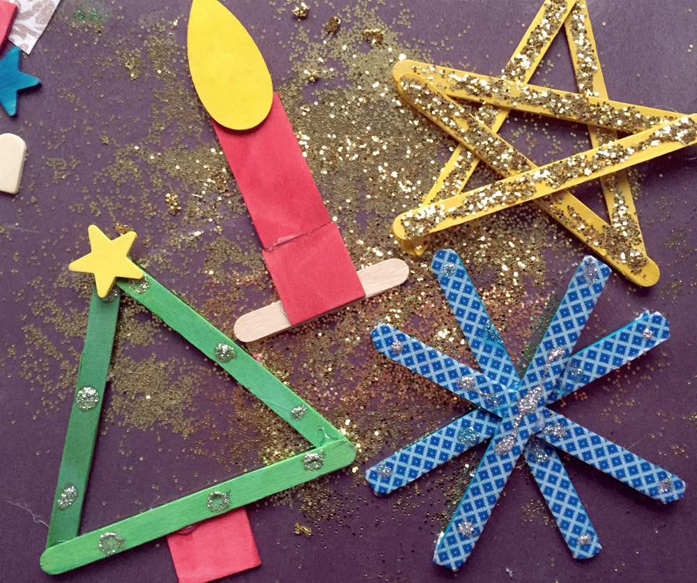 DIY homemade popsicle sticks crafts - Christmas tree, Christmas candle, star, and snowflake