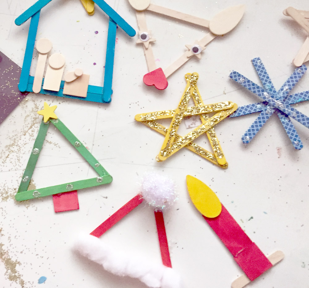 Christmas popsicle stick crafts that kids can make - Christmas tree, nativity scene, star, santa claus hat and more