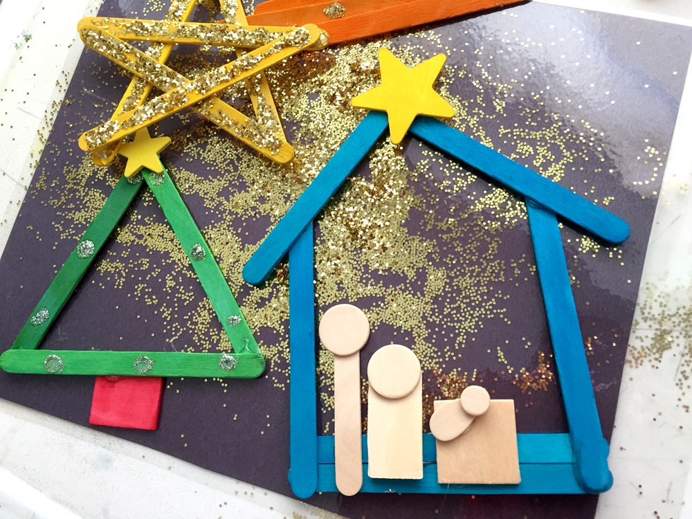 Christmas tree and nativity scene popsicle stick ornament that kids can make
