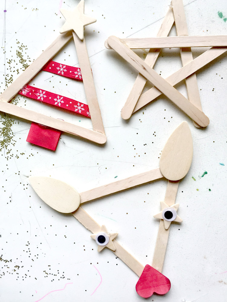 Children's Christmas ornaments made from popsicle sticks