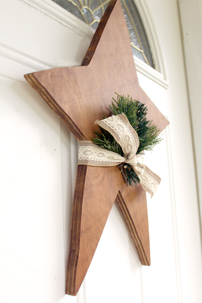 DIY wooden star on front door