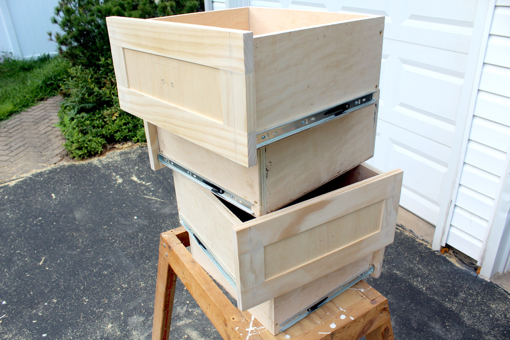 Homemade DIY drawers and drawer fronts for entryway mudroom piece