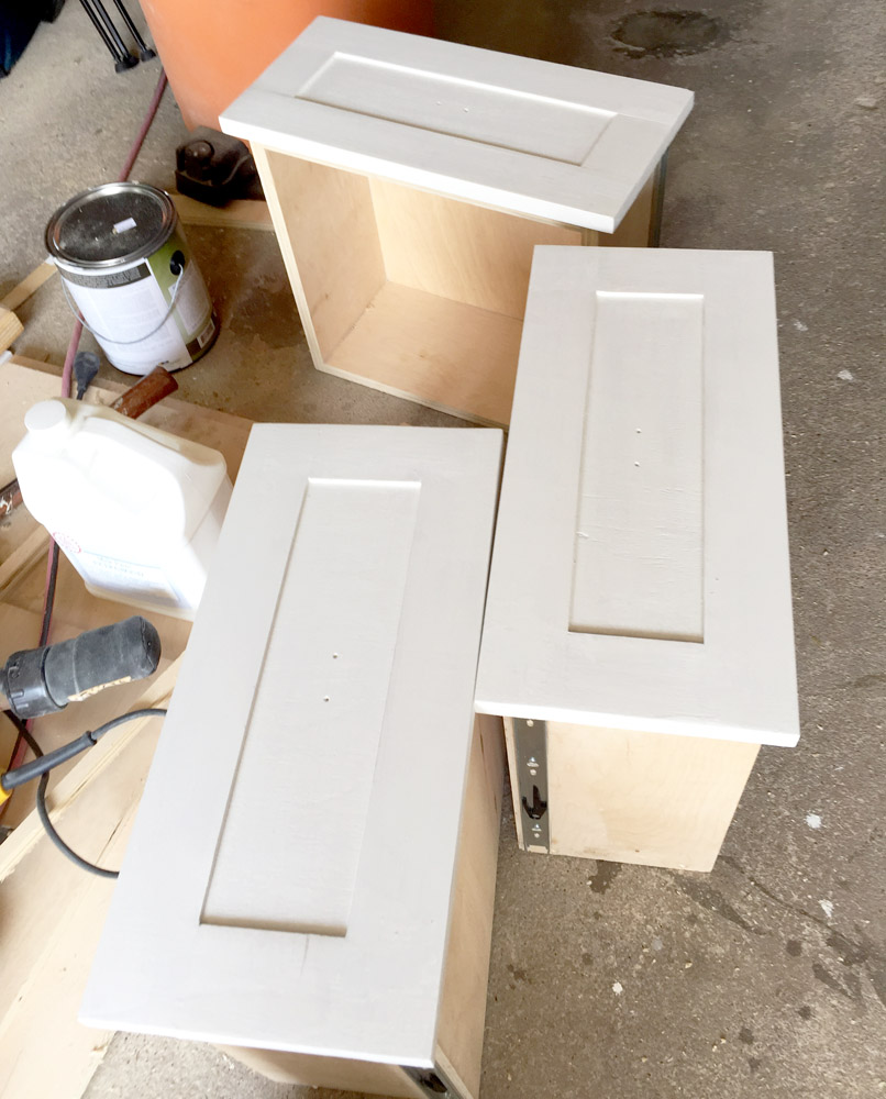 Painting homemade DIY drawer fronts with zero VOC milk paint