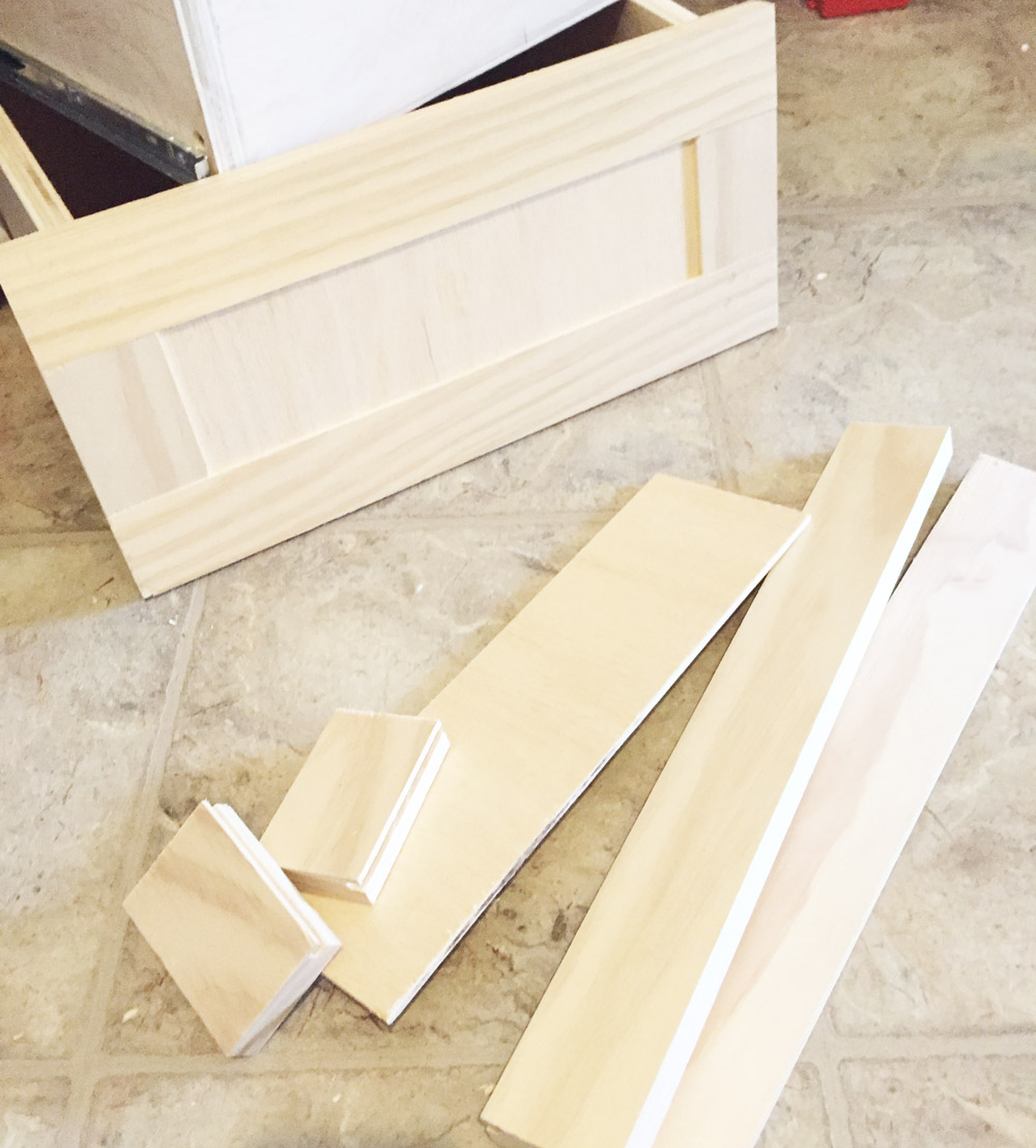 Assembling a drawer front with 5 pieces of plywood and birch sheets