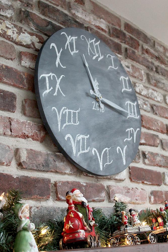 DIY wooden chalkboard style wall clock