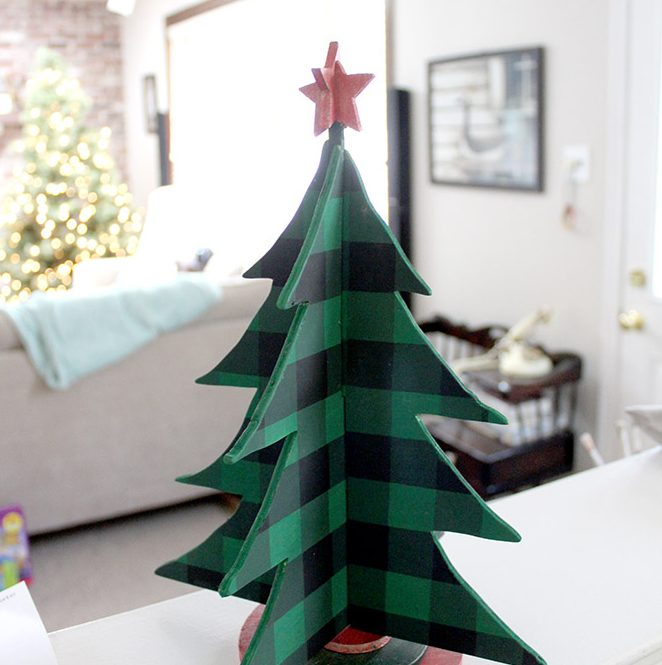 Green Buffalo Check Wooden Tabletop Christmas Tree Craft